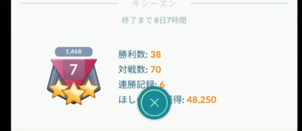 ランク7 レーティングは1468…。弱い…。