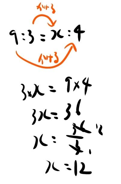 9:3=x:4
