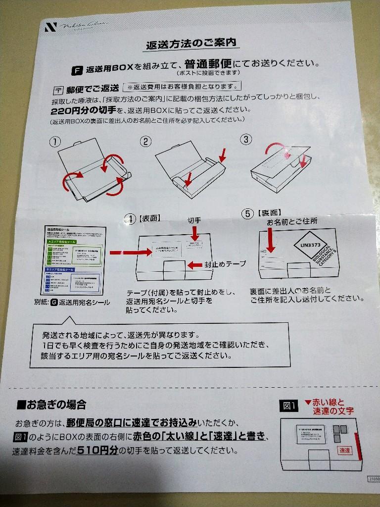 にしたんクリニック自宅PCR検査 返送方法
